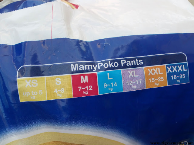 Mamy Poko Pants Style Diapers: Sizes