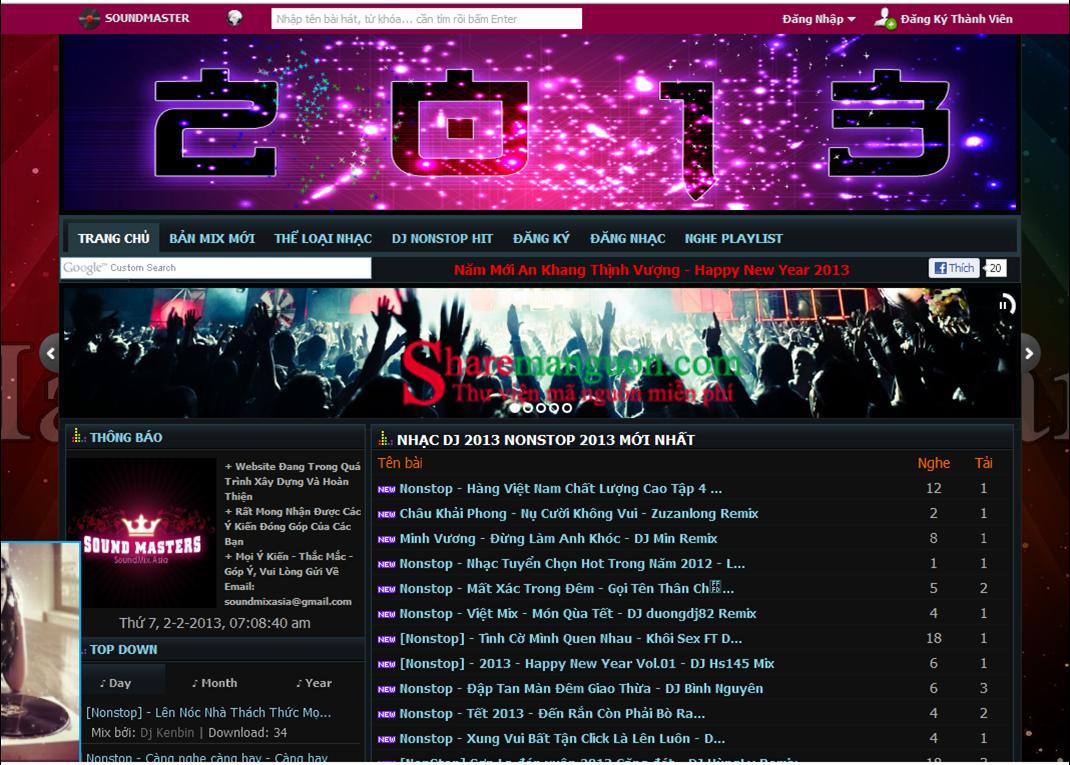 thiết kế website âm nhạc