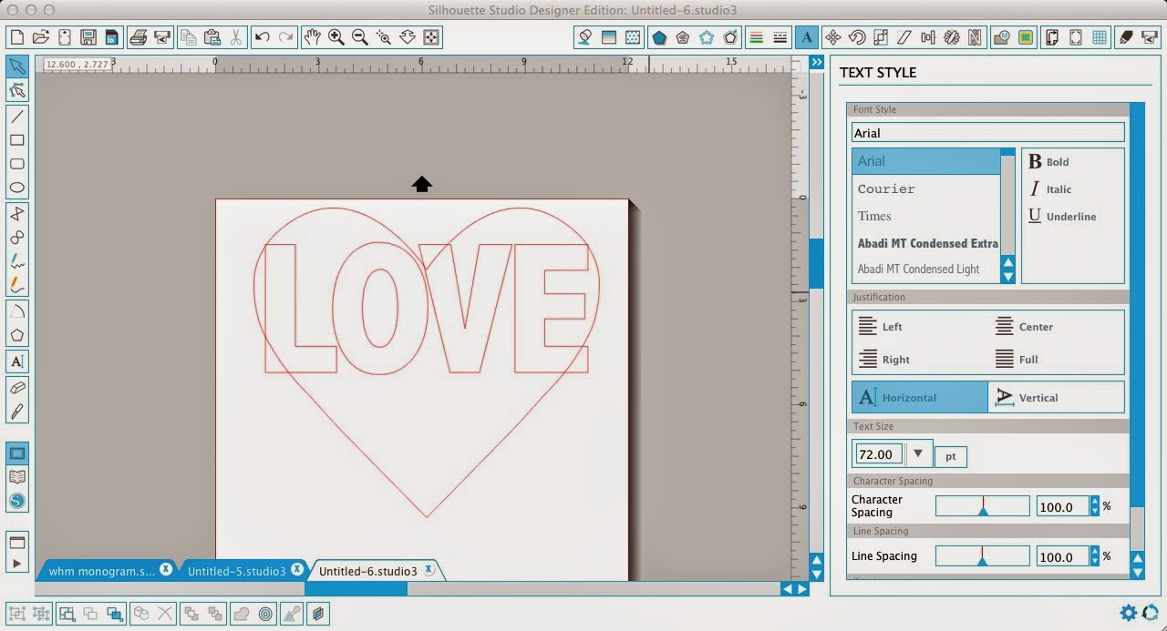 Silhouette Studio, word art, heart, love