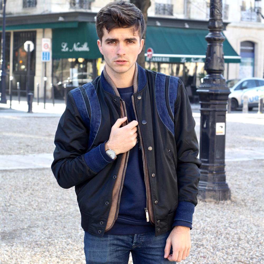 Blog-mode-homme-style-masculin-elegant-casual-bomber-diesel-boots-lacroix-sweatshirt-skinny-jeans-bordeaux-paris-porter-un-blouson-aviateur