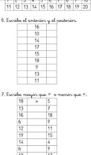 EJERCICIOS DE NUMERACIÓN DEL 0 AL 20  (5 FICHAS)