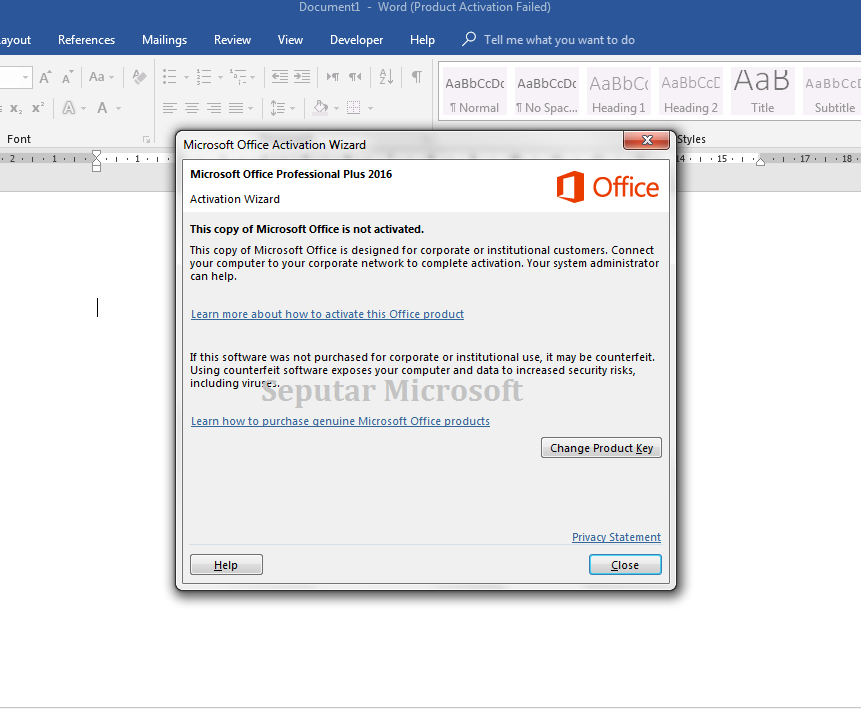 microsoft office 2016 activation wizard