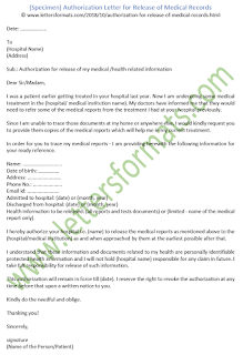 Authorization Letter for Release of Medical Records (Template)