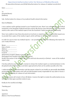 authorization letter sample for release of medical records