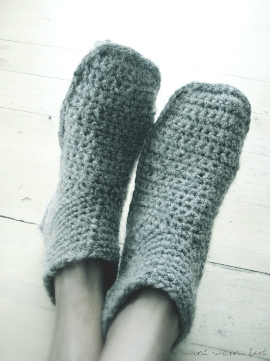 Slipper boots in heather gray - good morning crochet