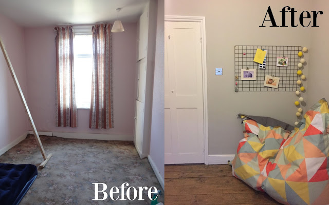 Home office before and after renovation