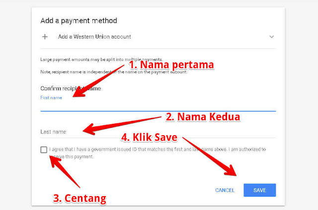Mengisi data akun western union google adsense