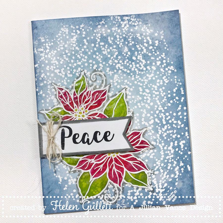 A Jillian Vance Design Cas Mixed Media Card Poinsettia Peace