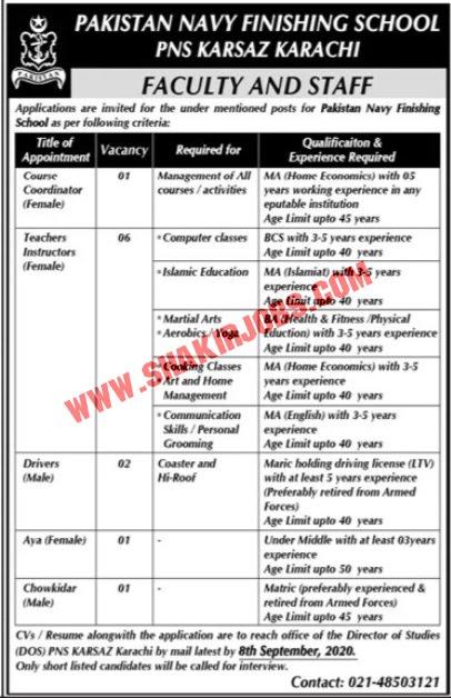 Jobs in Pakistan Navy Finishing School Jobs September 2020