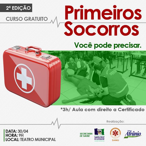 2ª edição do curso Primeiros Socorros será realizado no teatro municipal de Santa Cruz