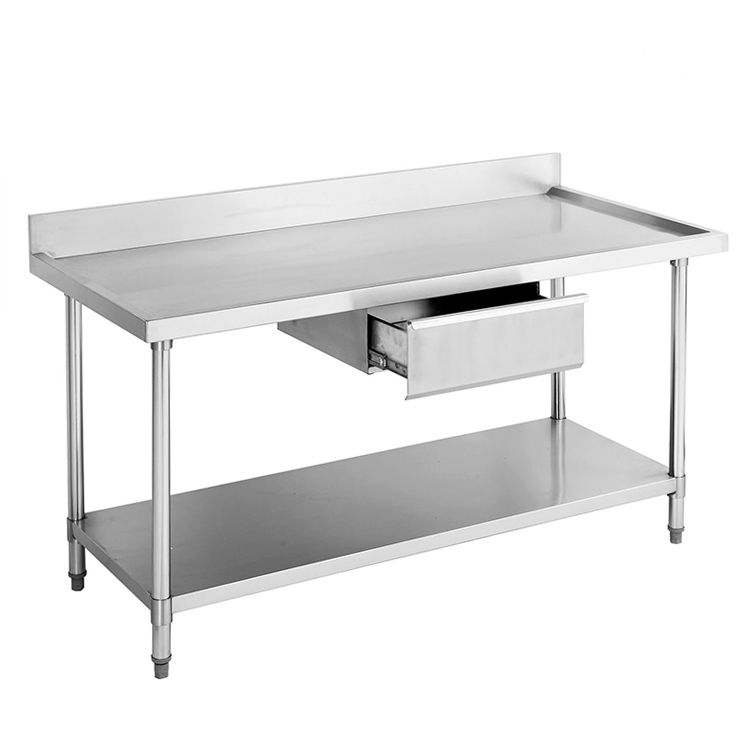 Stainless Steel Work Table with Drawer and Backsplash