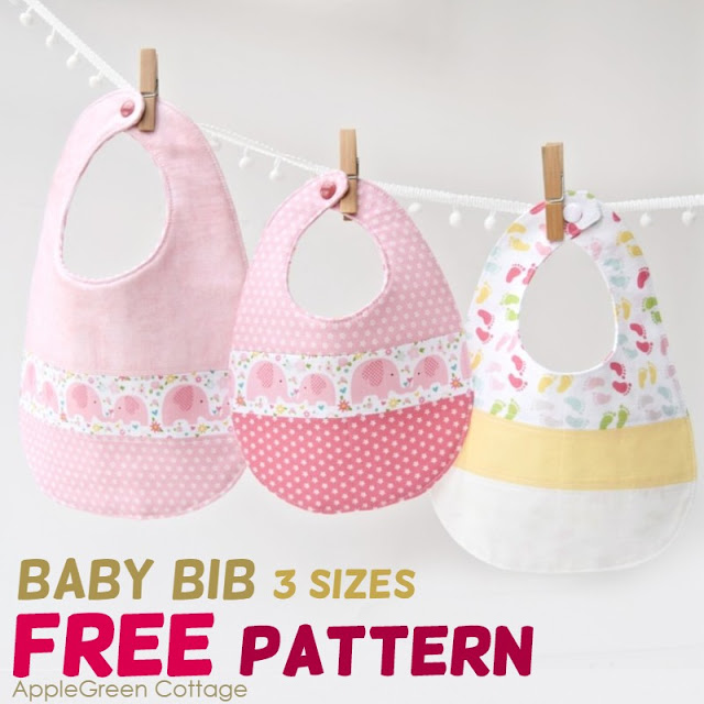 Learn how to sew baby bibs. Free pattern in 3 sizes by Apple Green Cottage.