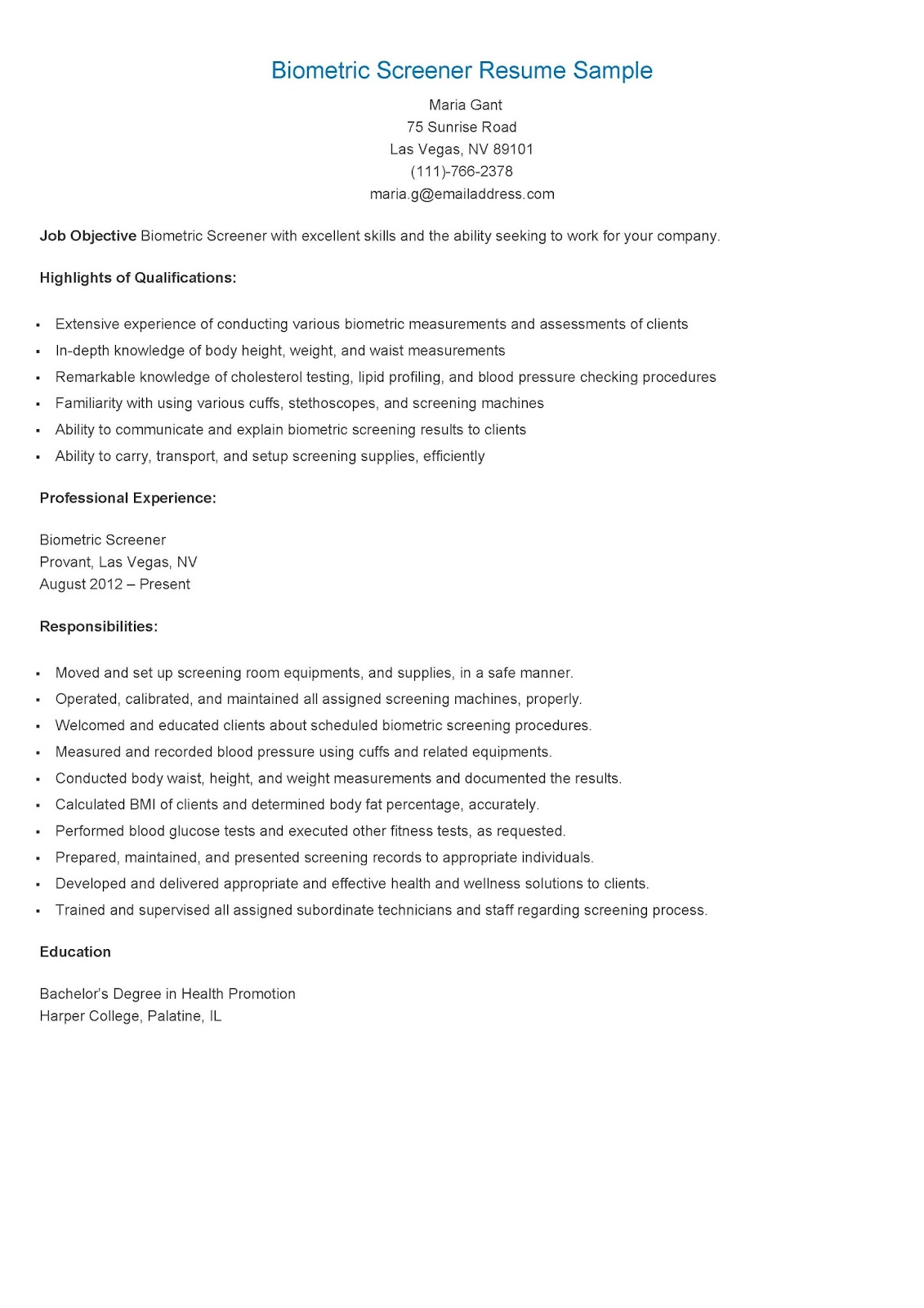 Rv Resume Resume Samples Biometric Screener Resume Sample