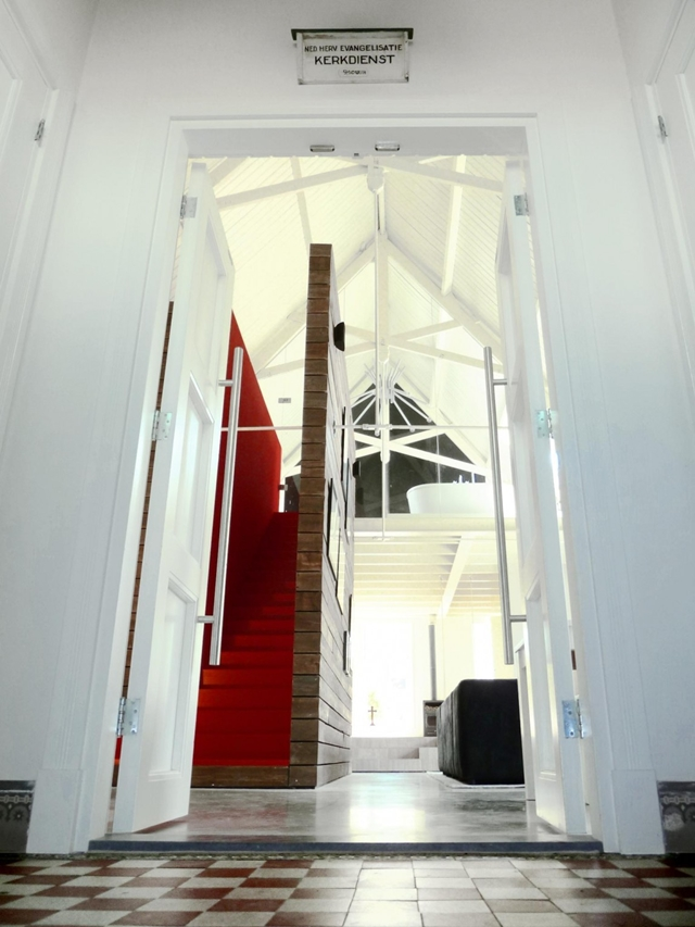 Picture of the modern home interiors as seen through the entrance doors