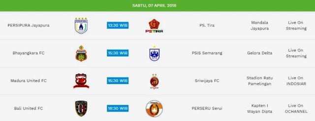 Jadwal Liga 1 Sabtu 7 April 2018 - Siaran Langsung Indosiar