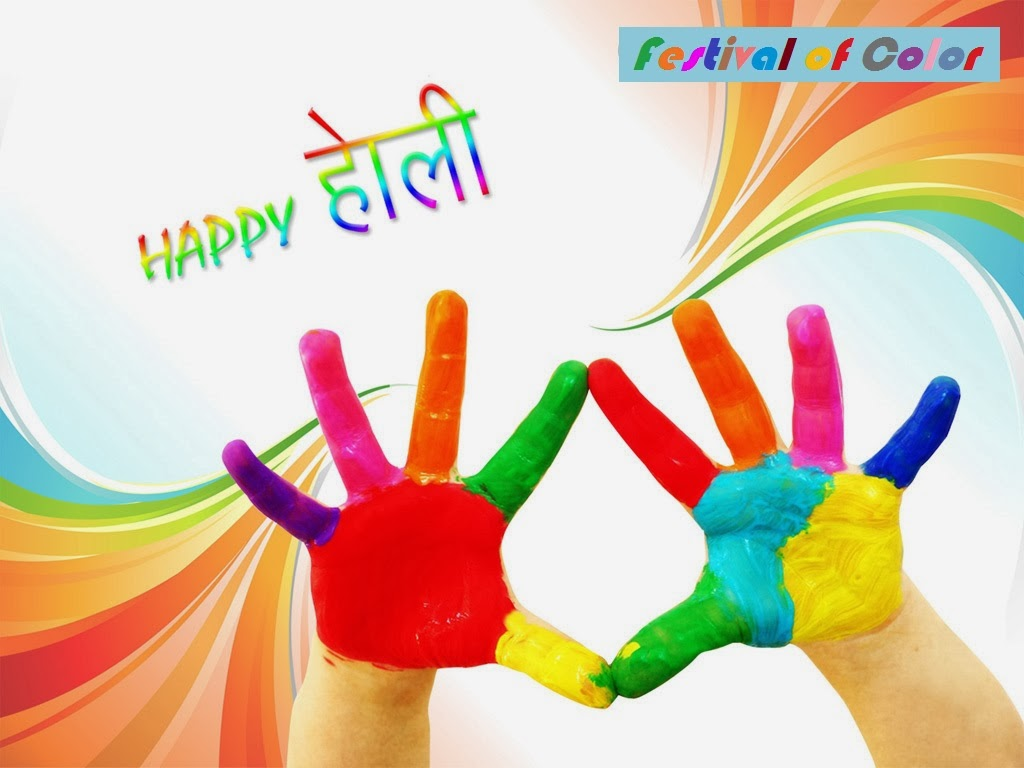 Colorful Hand Wishes Cards For Holi Festival