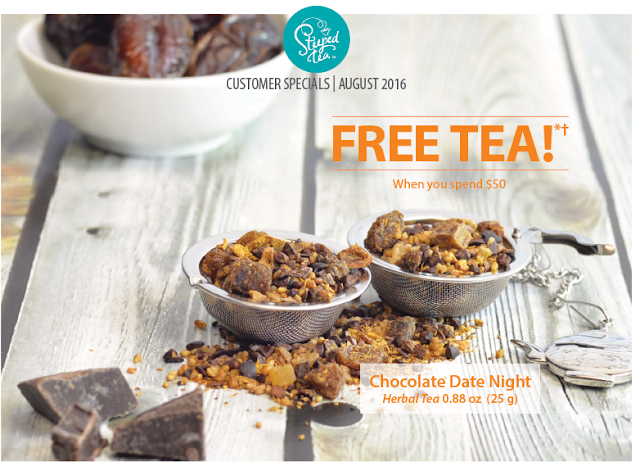Free Steeped Tea when you spend $50