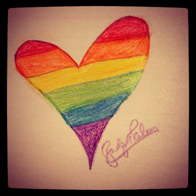 pride flag color heart drawing made by bridget eileen
