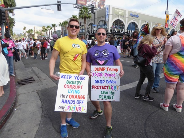 Sesame Street protesters LA Resist March Pride 2017