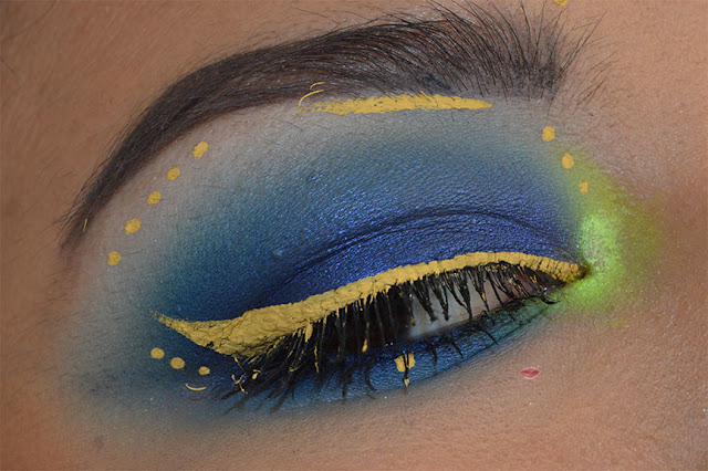Blue Smokey, Yellow eyeliner: eternity nabla, vivid halo nyx