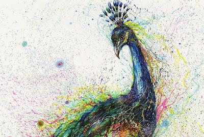 Pintura con salpicaduras contemporánea de pavoreal