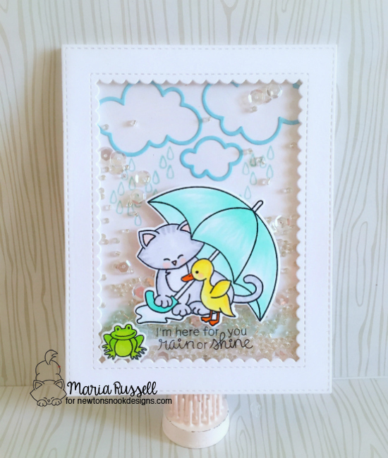 Cat and Umbrella Shaker Card by Maria Russell | Newton's Rainy Day stamp set and die set by Newton's Nook Designs #newtonsnook