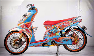 Modifikasi Honda Beat Airbrush Kartun