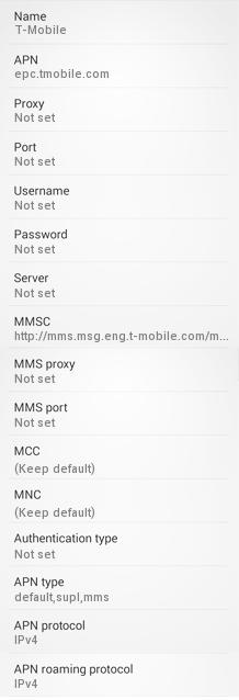 T-Mobile US APN Settings for Android / Nexus/ GalaxyS5, S6/HTC/Nexus6
