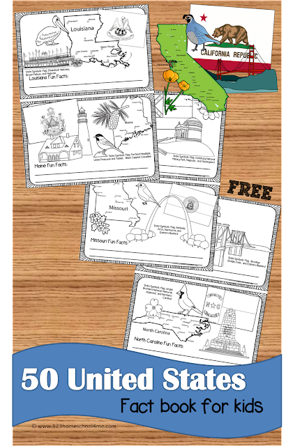 FREE United States Fact Book for kids - Love this for kids to learn about all 50 states visually while they color state map, state flag, state landmark, state bird, and state flower (homeschool, social studies, geography, kindergarten, 1st grade, 2nd grade, 3rd grade, 4th grade, 5th grade, and 6th grade students)