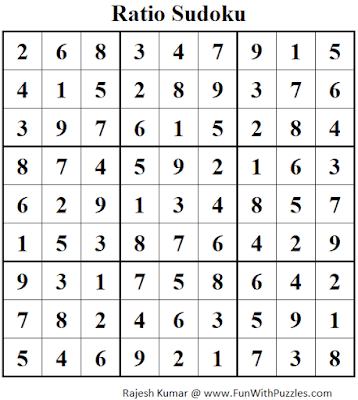 Answer of Ratio Sudoku Puzzle (Fun With Sudoku #349)