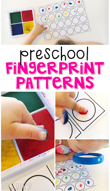 This fingerprint pattern activity is a super fun way to practice making patterns and fine motor skills with an all about me theme. Great for tot school, preschool, or even kindergarten!