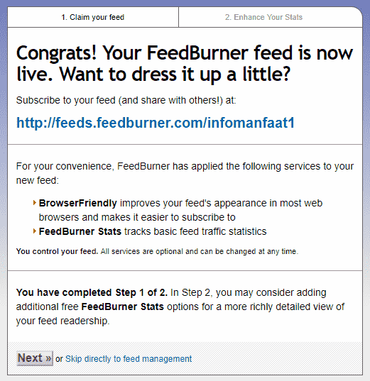 Cara Setting Feedburner di blogspot