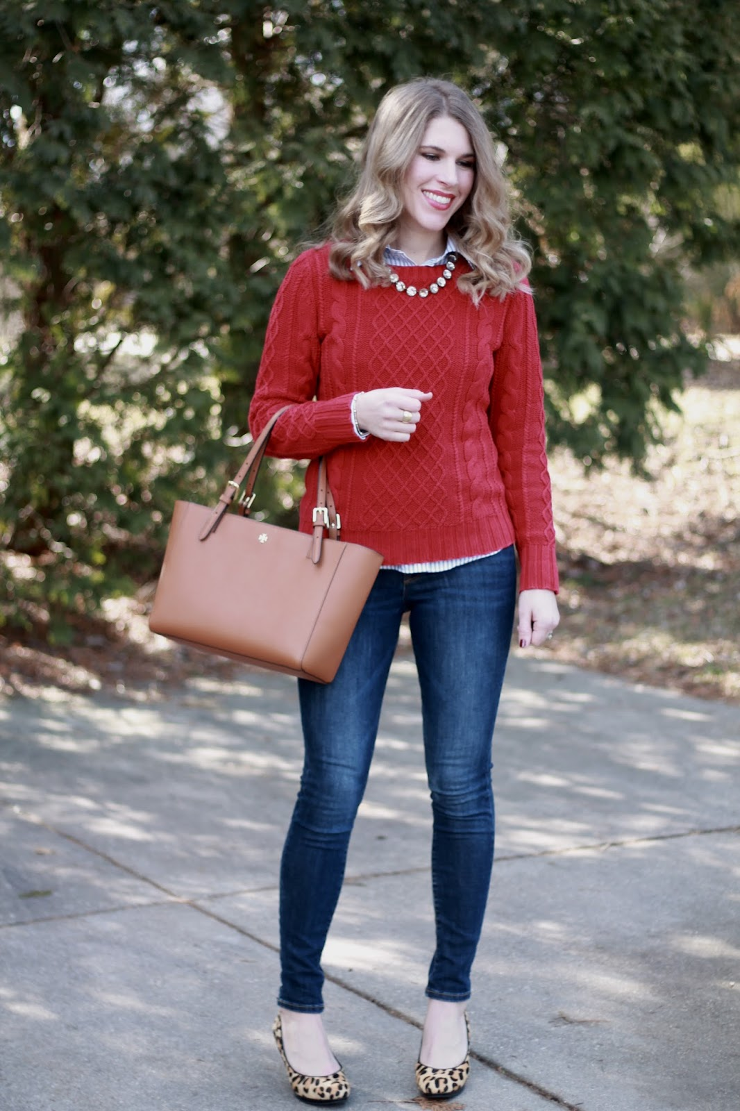 red sweater, striped button up, statement necklace, Old Navy Rockstar jeans, leopard heels, Tory Burch tote