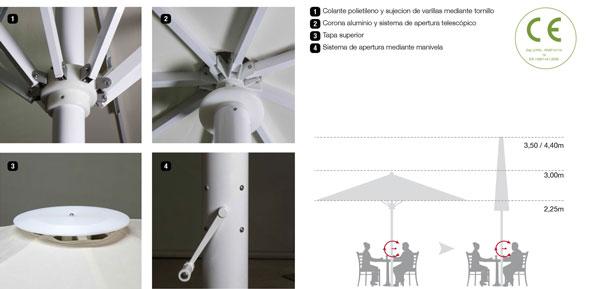 accesorios parasoles aluminio serie palma