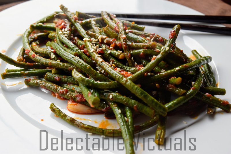 Blanched Long Green beans with Sambal Oelek