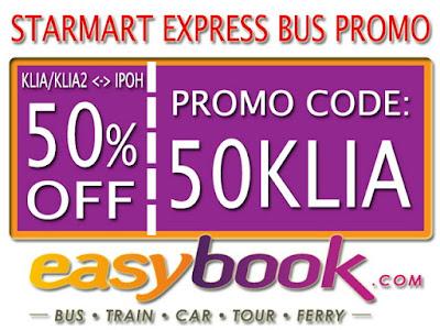 Diskon 50% Tiket Bus Starmart (KLIA/KLIA2 - Ipoh)