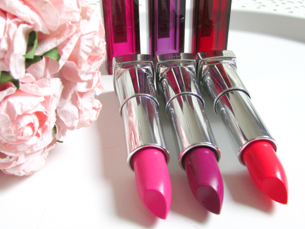 185 Plushest Pink, 365 Plum Passion, 448 Coral Flourish Maybelline Rebel Bloom / Rebel Bouquet