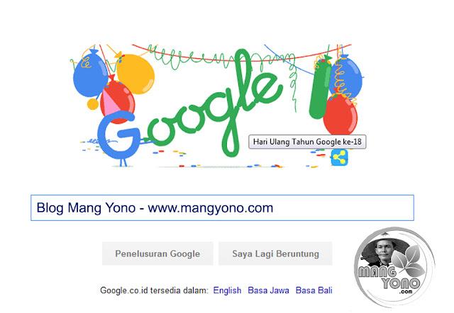 Google rayakan ulang tahun ke-18 lewat Doodle unik
