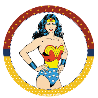 Wonder Woman Retro Party Toppers or Free Printable Candy Bar Labels.