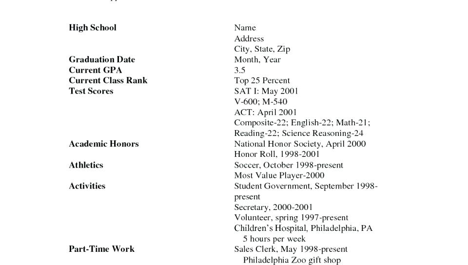 Resume writing for high school students builder