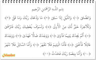ayat ini termasuk golongan surah Makkiyah karena diturunkannya saat Nabi SAW berada di Ma Surah Ad-Duha dan Artinya