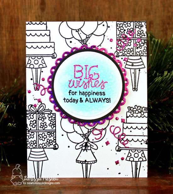 Big Wishes Card by Larissa Heskett | Holding Happiness Stamp Set by Newton's Nook Designs #newtonsnook #handmade
