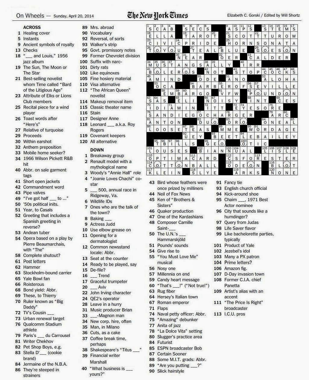 It's just a graphic of Declarative Printable New York Times Crossword