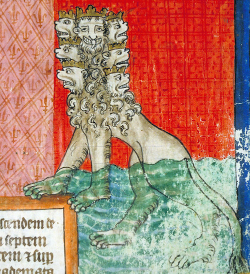 Medieval illumination of many-headed lion-type thing