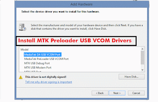 How to install MTK65XX Preloader USB VCom Drivers in Windows