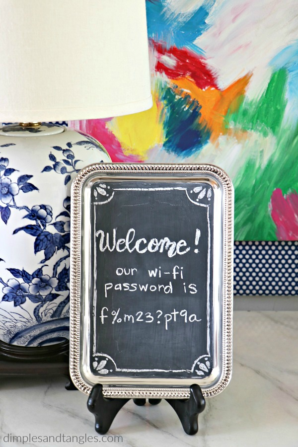 dollar store crafts, diy chalkboard, wi-fi password sign, dollar tree,