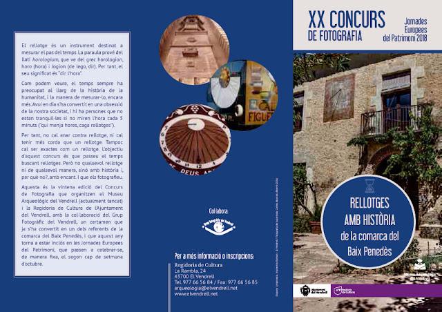 Esguard de Dona - XX Concurs de Fotografia Jornades Europees del Patrimoi 2018 - Rellotges amb Història de la comcarca del Baix Penedès  - Bases del concurs