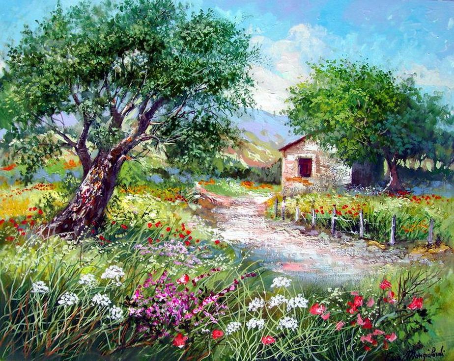 Im genes arte pinturas pinturas de casas de campo antiguas - Paisajes de casas de campo ...