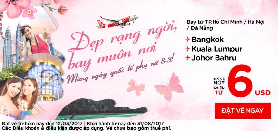 Vé khuyến mãi Air Asia ngày 06/03/2017 mừng quốc tế phụ nữ 8-3