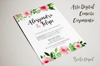 arte convite casamento floral rosa vintage